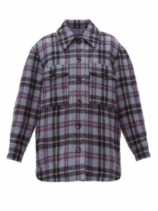 Isabel Marant - Harvey Checked Brushed-wool Overshirt - Womens - Blue Multi