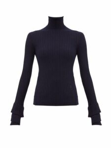 Chloé - Roll Neck Ribbed Merino Wool Sweater - Womens - Navy