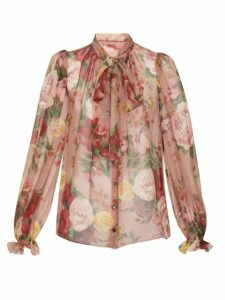 Dolce & Gabbana - Floral Pussy Bow Silk Blouse - Womens - Pink Multi