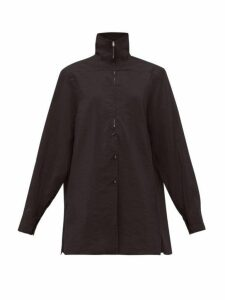 Lemaire - Zipped Silk Blend Shirt - Womens - Black
