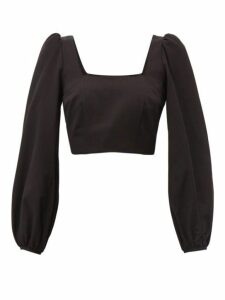 Racil - Pat Square-neck Moiré Cropped Top - Womens - Black