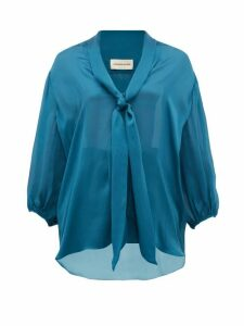 Alexandre Vauthier - Knotted Silk Blouse - Womens - Blue