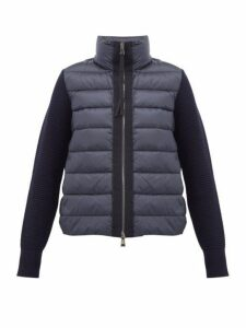 Moncler - Knitted Sleeve Quilted Down Jacket - Womens - Navy