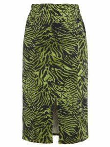 Ganni - Tiger-print Stretch Cotton-blend Skirt - Womens - Green