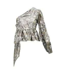 Ganni - Metallic Floral-print One-shoulder Blouse - Womens - Silver