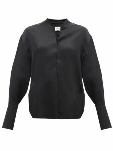 Khaite - Athena Lace Up Crepe Satin Blouse - Womens - Black