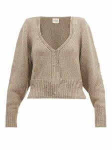 Khaite - Charlette V Neck Cashmere Sweater - Womens - Beige