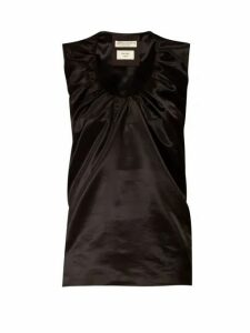 Bottega Veneta - Gathered Scoop Neck Satin Top - Womens - Black
