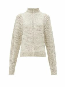 Isabel Marant - Edilon High-neck Wool-blend Sweater - Womens - Light Grey