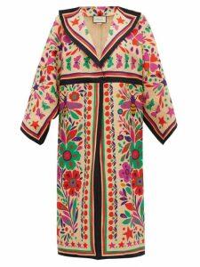 Gucci - Paradise-print Linen-blend Kimono-style Coat - Womens - Beige Multi
