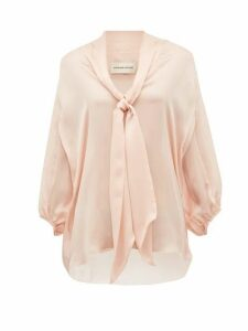 Alexandre Vauthier - Tie-neck Silk-satin Chiffon Blouse - Womens - Light Pink