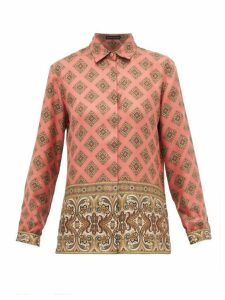 Etro - Paisley Print Silk Shirt - Womens - Pink Multi