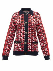 Miu Miu - Monogram-jacquard Wool-blend Cardigan - Womens - Navy Multi