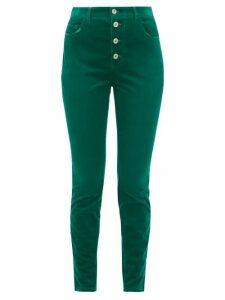 Miu Miu - Distressed Cotton-blend Corduroy Slim-leg Trousers - Womens - Green