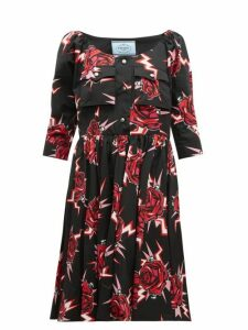 Prada - Frankenstein Print Cotton Knee Length Dress - Womens - Black Multi