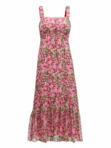 Saloni - Joel Floral And Berry-print Silk Midi Dress - Womens - Pink Multi