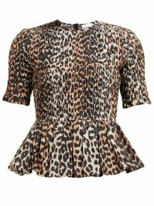 Ganni - Leopard-print Smocked Cotton-blend Top - Womens - Leopard