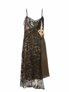 Preen By Thornton Bregazzi - Leah Velvet And Lace-panel Slip Dress - Womens - Black Multi