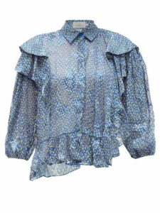 Preen By Thornton Bregazzi - Kayla Ruffle-trim Chiffon Devoré Blouse - Womens - Blue