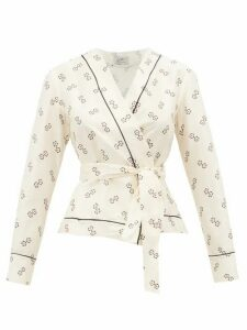 Giuliva Heritage Collection - The Amanda Geometric-print Cotton-blend Wrap Top - Womens - Ivory Multi