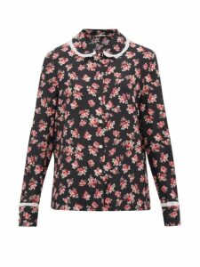 Miu Miu - Lace-trimmed Rose-print Silk Blouse - Womens - Black Multi