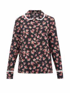 Miu Miu - Lace-trimmed Rose-print Silk Blouse - Womens - Black Multi