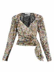 The Attico - Draped Sequinned Wrap Top - Womens - Multi