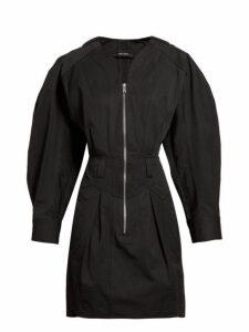 Isabel Marant - Honey Zipped Cotton Mini Dress - Womens - Black