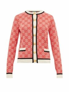 Gucci - Gg Logo Jacquard Wool Blend Cardigan - Womens - Red Multi