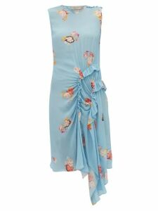 Preen Line - Antoinette Ruffled Floral-print Crepe Dress - Womens - Blue Multi