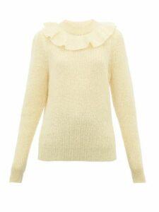 Miu Miu - Ruffled Mohair Blend Sweater - Womens - Light Yellow