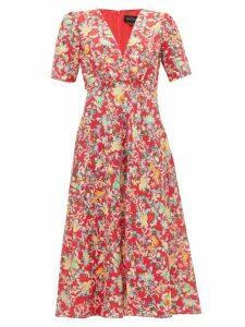 Saloni - Eden Floral-print Silk Midi Dress - Womens - Red Multi