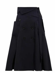 Golden Goose - Makiko Buttoned Twill Midi Skirt - Womens - Navy