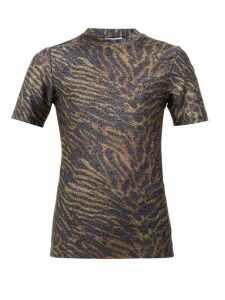 Ganni - Zebra-print Lurex T-shirt - Womens - Animal