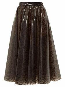 MSGM - Leopard-print Pvc Midi Skirt - Womens - Leopard