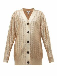 MSGM - Metallic Cable-knit Wool-blend Cardigan - Womens - Gold