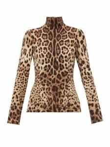 Dolce & Gabbana - Leopard-print High-neck Silk Top - Womens - Leopard