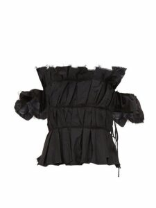 Brock Collection - Off-shoulder Ruched Peplum Bodice Top - Womens - Black