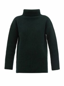 Jacquemus - Agde Ribbed-knit Roll-neck Wool-blend Sweater - Womens - Dark Green