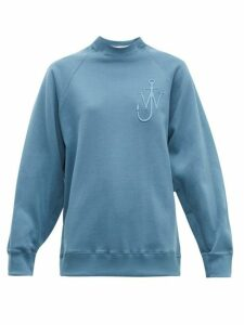 Jw Anderson - Oversized Button-sleeve Cotton-jersey Sweatshirt - Womens - Blue