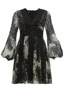 Giambattista Valli - Square Print Lace Trim Silk Georgette Dress - Womens - Black White