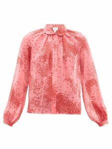 Giambattista Valli - Square Print Silk Georgette Blouse - Womens - Pink Multi