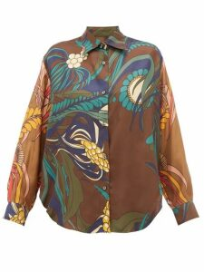 La Prestic Ouiston - Varenne Floral-print Silk-twill Shirt - Womens - Brown Multi