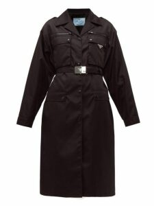 Prada - Belted Single Breasted Technical Sateen Coat - Womens - Black