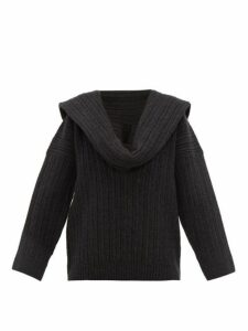 Jacquemus - Ahwa Draped Scarf-neckline Wool-blend Sweater - Womens - Dark Grey