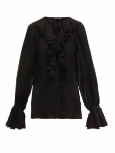 Etro - Devon Ruffled Silk-chiffon Blouse - Womens - Black