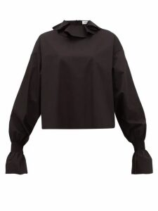 Françoise - Ruffled-neck Cotton-poplin Blouse - Womens - Black