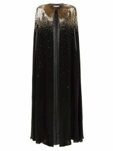 Givenchy - Sequinned Silk-chiffon Cape - Womens - Black Gold
