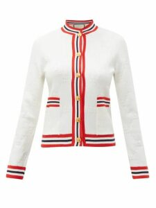 Gucci - Gg Logo Jacquard Wool Blend Cardigan - Womens - Ivory Multi