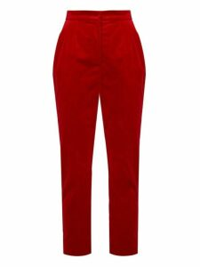 Dolce & Gabbana - High Rise Velvet Trousers - Womens - Red